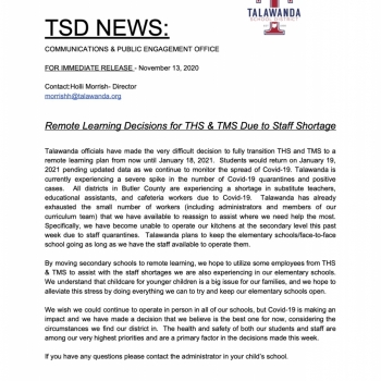 press release secondary remote learning